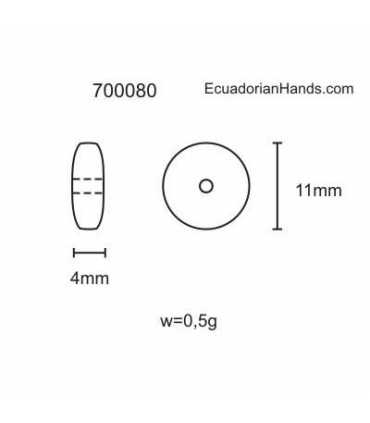 Lentejas 11mm Abalorios Tagua (200 unidades)