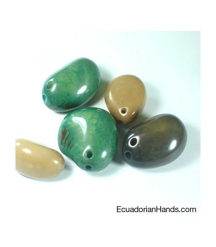 Tinged Nut 30mm Tagua Bead (10 units) YELLOW