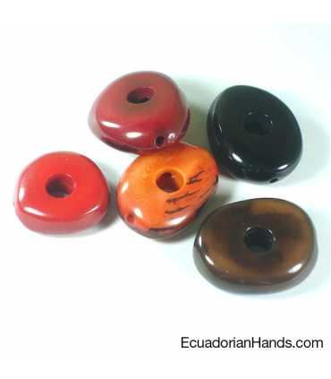 Piedra Pulida Hueco 10mm Abalorios Tagua (7 unidad)