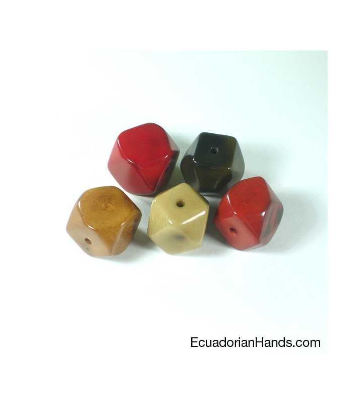 Diamond 14c 21x20mm Tagua Bead (720 units) PREMIUM