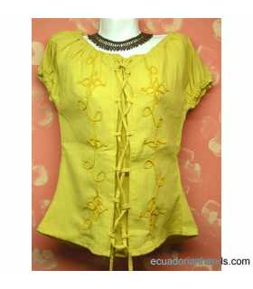 Blouse w/ Eyelets Hand Embroidered 100% Cotton - cas-b007