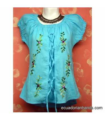 Blouse w/ Eyelets Hand Embroidered 100% Cotton
