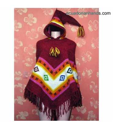 Womens wool Poncho with Long Pointy Hood Hood HandWoven