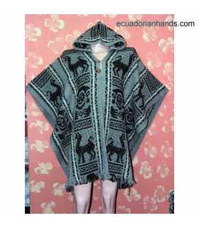 Wool Poncho with Hood HandWoven Unisex