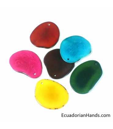 Slice Semi Rustic Edge Tagua Bead (16 units)