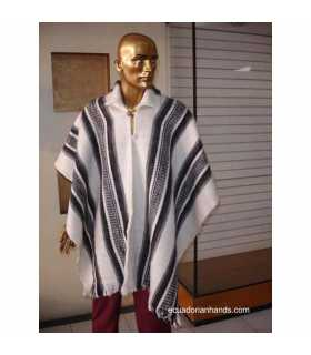 White Striped Wool Poncho with Neck HandWoven Unisex