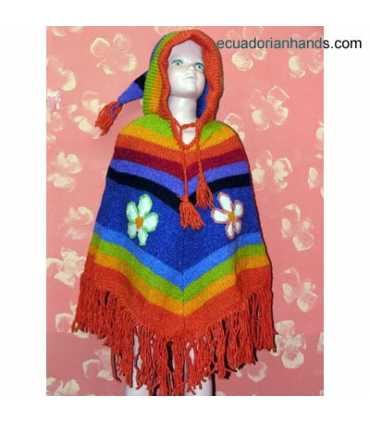 Kids Wool Poncho with Long Pointy Hood HandWoven