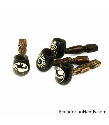 25 Pipas artesanales, Marfil Exótico Tagua, Standard-negra