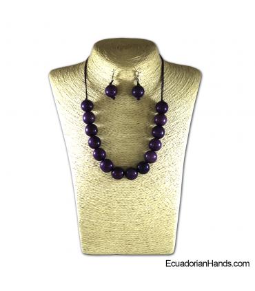 Collares y aretes hechos a mano Tagua Marfil Exótico (jc001-M)