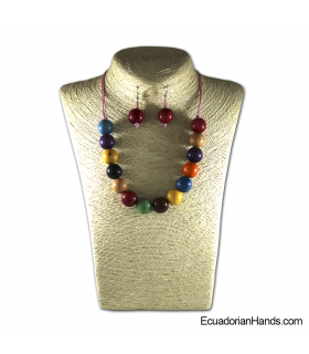 Beaded Jewelry Necklaces and Earrings - Handmade Eco Ivory Tagua (JC001-M01)