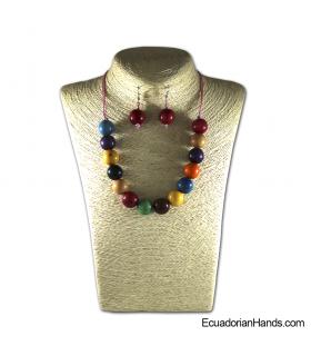 Conjunto de Collar y Aretes | Venta al por mayor de Bisutería de Tagua hecha a mano - JC001-M01