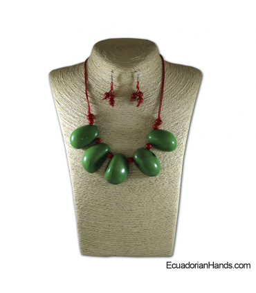 Beaded Jewelry Necklaces and Earrings - Handmade Eco Ivory Tagua (JC001-M02)