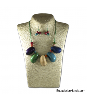 Set Necklace & Earrings | Wholesale Tagua Jewelry Handmade EcoIvory - JC001-M02