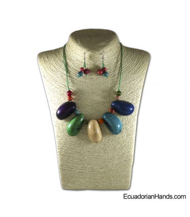 Conjunto de Collar y Aretes | Venta al por mayor de Bisutería de Tagua hecha a mano - JC001-M02