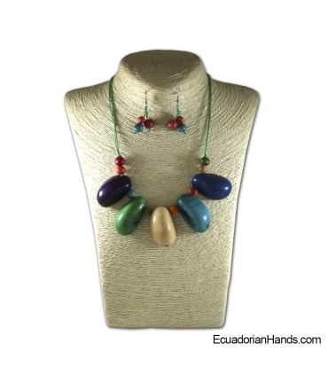 Collares y aretes hechos a mano Tagua Marfil Exótico (JC001-M02)