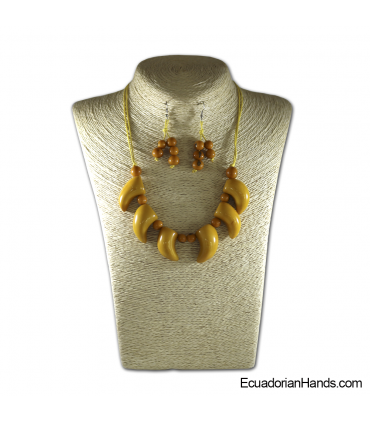 Collares y aretes hechos a mano Tagua Marfil Exótico (jc001-A)