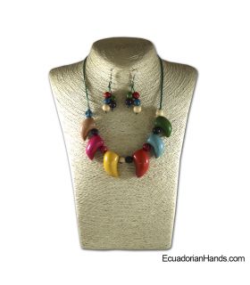 Set Necklace & Earrings | Wholesale Tagua Jewelry Handmade EcoIvory - JC001-M03