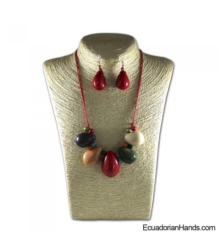 Conjunto de Collar y Aretes | Venta al por mayor de Bisutería de Tagua hecha a mano - JC001-M04