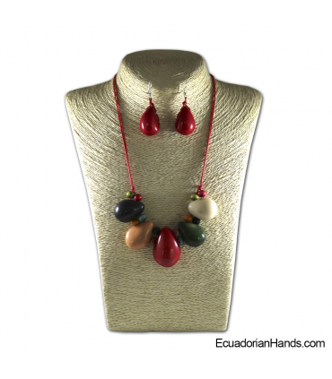 Set Necklace & Earrings | Wholesale Tagua Jewelry Handmade EcoIvory - JC001-M04