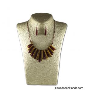 Conjunto de Collar y Aretes | Venta al por mayor de Bisutería de Tagua hecha a mano - JC001-M05