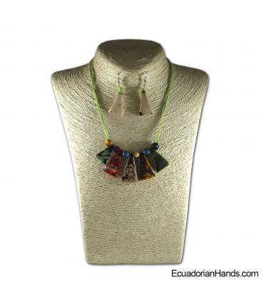 Conjunto de Collar y Aretes | Venta al por mayor de Bisutería de Tagua hecha a mano - JC001-M06