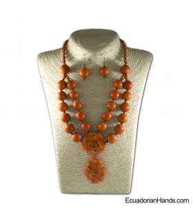 Conjunto de Collar y Aretes | Venta al por mayor de Bisutería de Tagua hecha a mano - JC003-M01