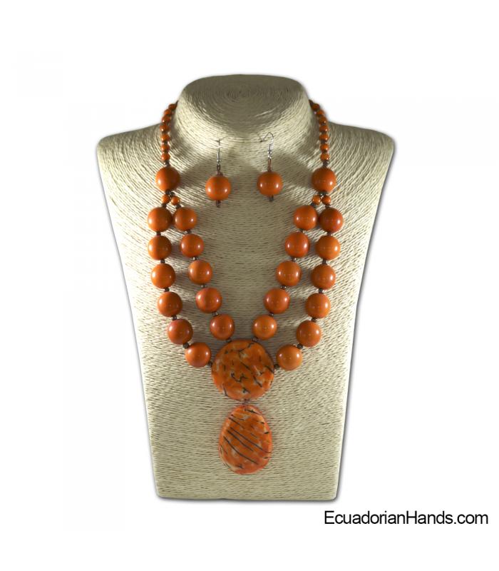 Set Necklace & Earrings | Wholesale Tagua Jewelry Handmade EcoIvory - JC003-M01