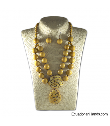 Set Necklace & Earrings | Wholesale Tagua Jewelry Handmade EcoIvory - JC003-M01