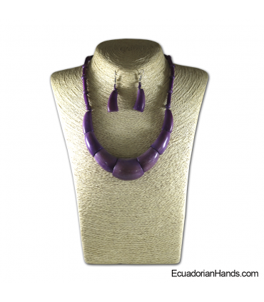 Beaded Jewelry Necklaces and Earrings - Handmade Eco Ivory Tagua (JC003-D)