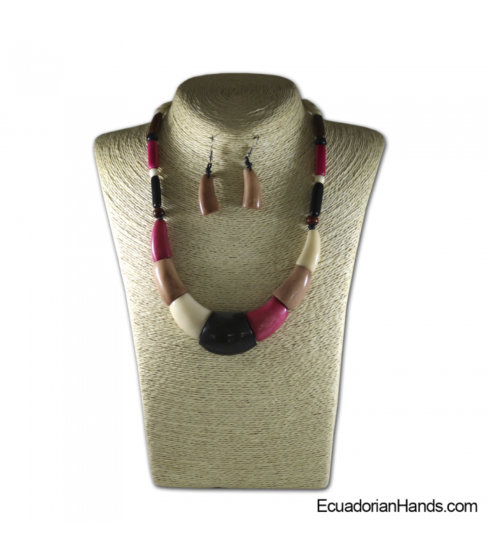 Collares y aretes hechos a mano Tagua Marfil Exótico (jc003-D)