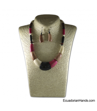 Set Necklace & Earrings | Wholesale Tagua Jewelry Handmade EcoIvory - JC003-M02