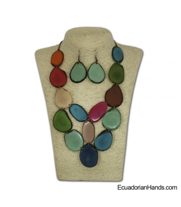 Set Necklace & Earrings | Wholesale Tagua Jewelry Handmade EcoIvory - JC003-M03