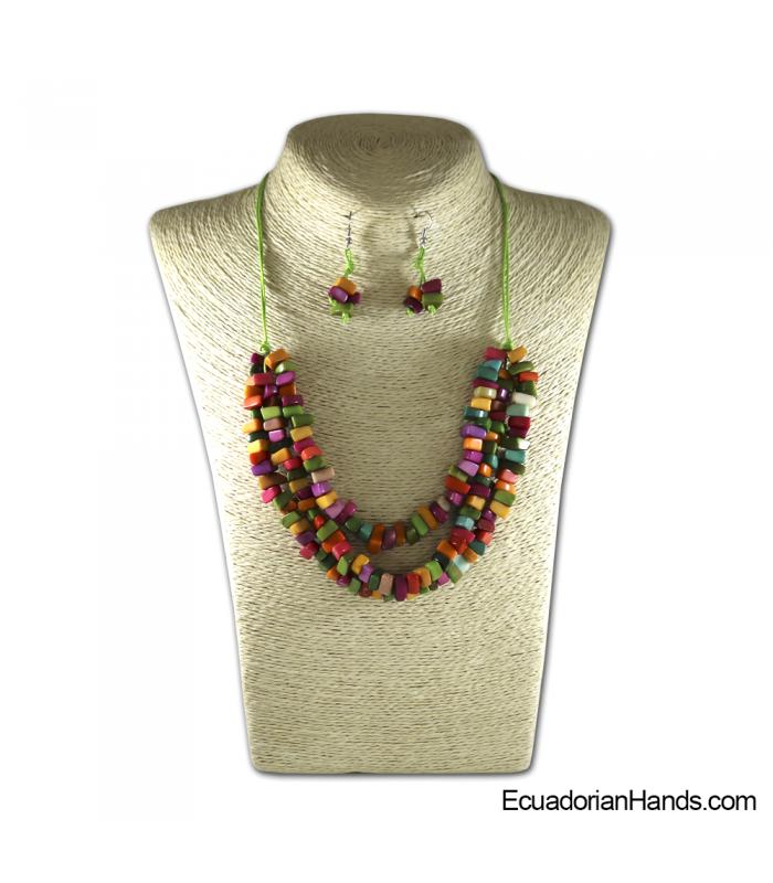 Set Necklace & Earrings | Wholesale Tagua Jewelry Handmade EcoIvory - JC002-M01