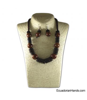 Conjunto de Collar y Aretes | Venta al por mayor de Bisutería de Tagua hecha a mano - JC002-M01