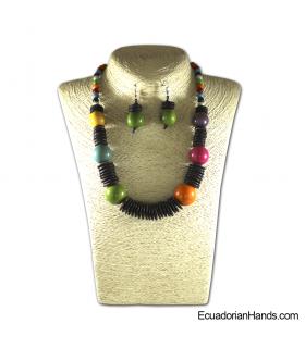 Conjunto de Collar y Aretes | Venta al por mayor de Bisutería de Tagua hecha a mano - JC002-M02