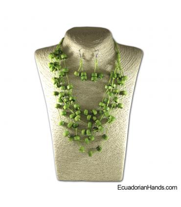 Conjunto de Collar y Aretes | Venta al por mayor de Bisutería de Tagua hecha a mano - JC002-M03
