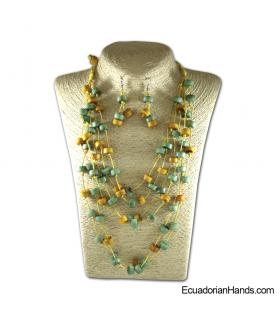 Set Necklace & Earrings   Wholesale Tagua Jewelry Handmade EcoIvory - JC002-M03