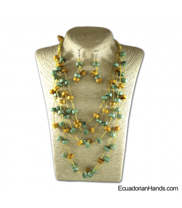 Set Necklace & Earrings | Wholesale Tagua Jewelry Handmade EcoIvory - JC002-M03