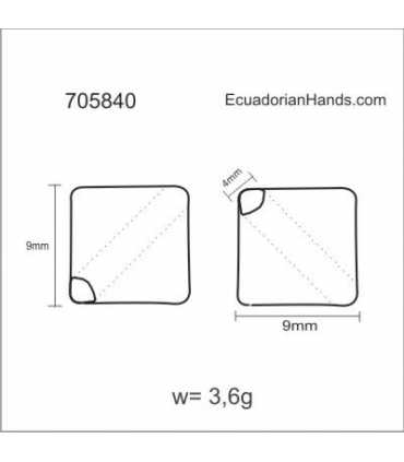 Cube 3D 15mm Pierced Hole Tagua Bead (8 units) YELLOW