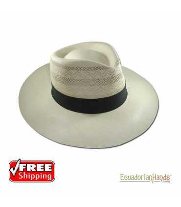 Fedora SemiCalado Diagonal Montecristi Panama Hat