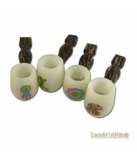 25 Pipas artesanales, Marfil Exótico Tagua, Standard-ivory