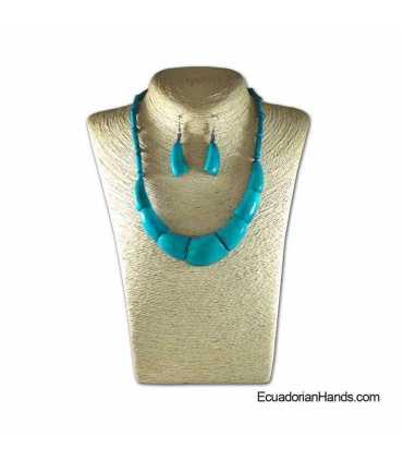 Conjunto de Collar y Aretes | Venta al por mayor de Bisutería de Tagua hecha a mano - JC003-M02