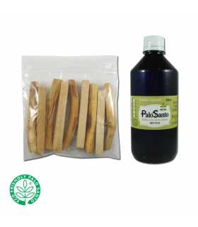 1100ziplocs (10 sticks palosanto ea.) NO LABEL + 500ml. Palosanto EO 100% pure
