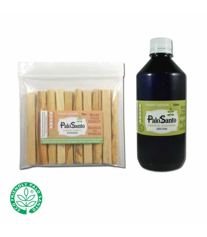 1100ziplocs (10 tablitas palosanto c/u) etiquetado+ 500ml. Aceite Esencial PaloSanto