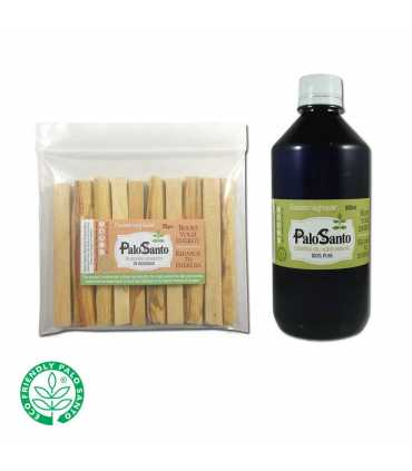 1100ziplocs (10 sticks palosanto ea.) w/LABEL + 500ml. Palosanto EO 100% pure