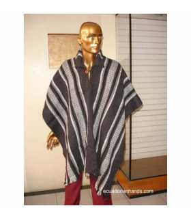 Grey Striped Wool Poncho with Neck HandWoven Unisex