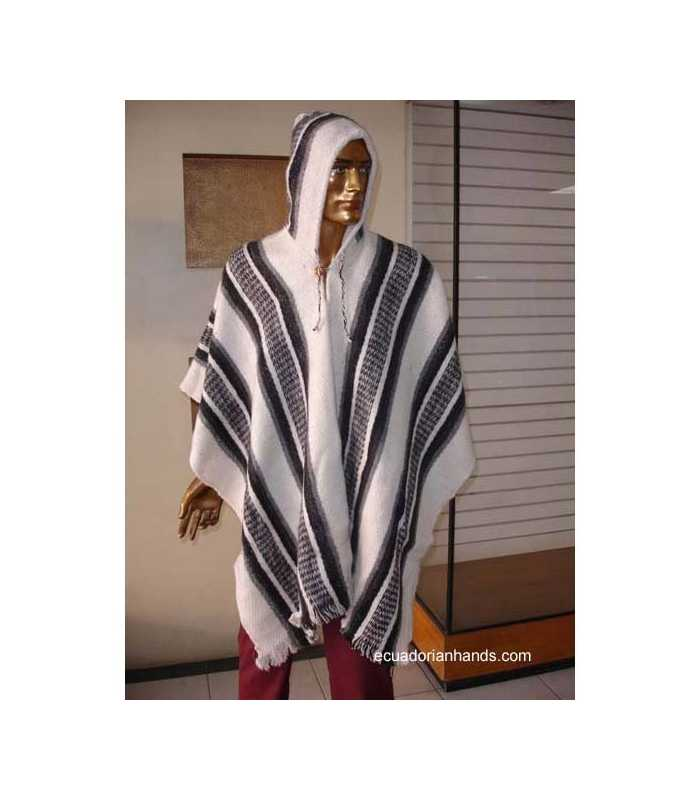White Striped Wool Poncho with Hood HandWoven Unisex
