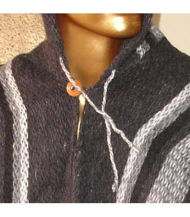 Grey Striped Wool Poncho with Hood HandWoven Unisex