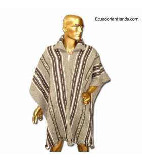 Light Brown Striped Poncho with Neck 100% Wool