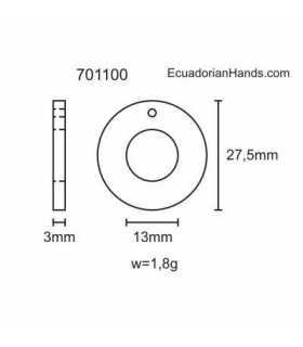 Round Belt Tab 30mm Tagua Bead (20 units) YELLOW